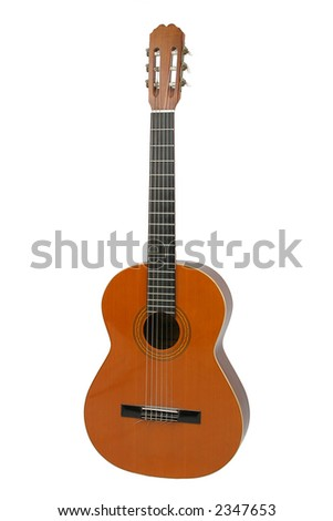 Spanish or classical acoustic guitar, separated on  a white background, clipping path included.