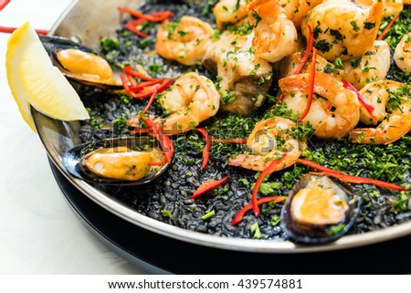 spanish paella - stock photo