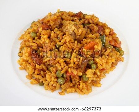 spanish paella plate - stock photo