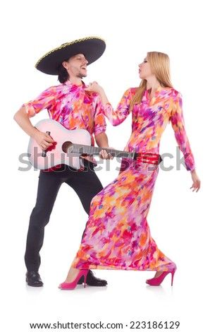 Spanish pair playing guitar and dancing - stock photo
