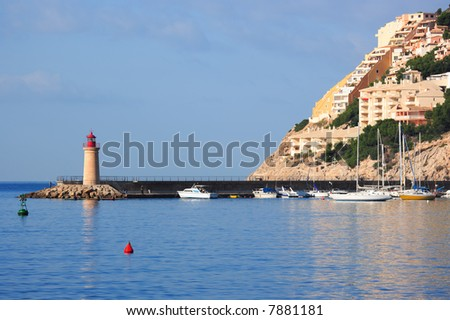 spanish port and lighthouse, Majorca, Spain