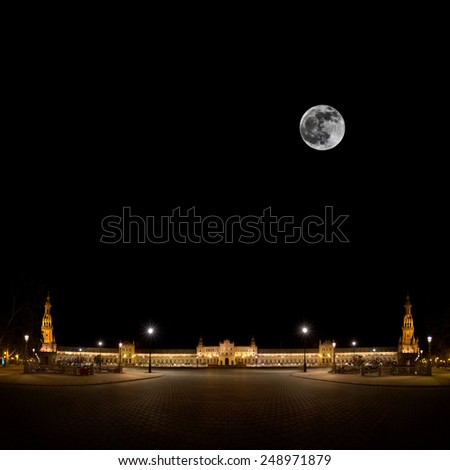 Spanish Square (Plaza de Espana) in Sevilla at night, Spain - stock photo