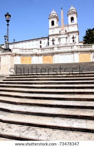 Spanish Steps and church of Trinita dei Monti in Rome Italy - stock photo