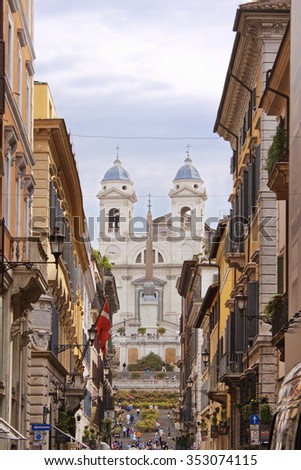 Spanish Steps, view from city street, Rome, Italy - stock photo