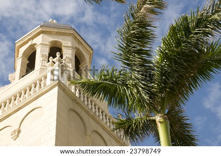 Spanish Style Church in West Palm Beach, Florida - stock photo