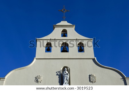 Spanish-style church with clear blue sky in St. Augustine, Florida - stock photo