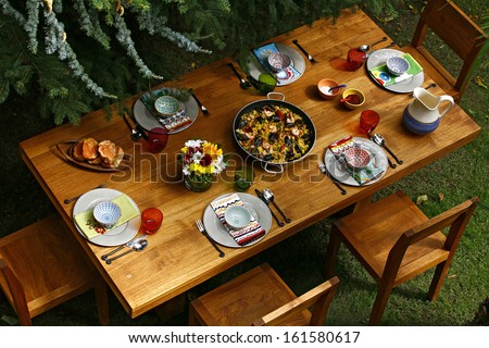 spanish style dining table with paella overview & Spanish Style Dining Table Paella Overview Stock Photo (Download Now ...