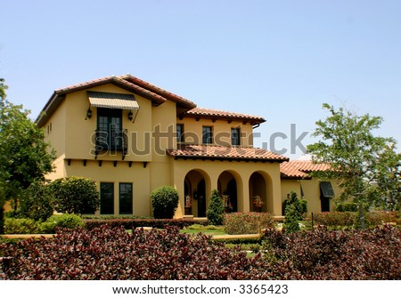 spanish style home - stock photo