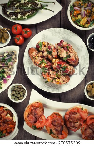 Spanish tapas food, healthy mediterranean cold buffet - stock photo