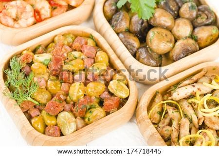 broad beans with chorizo), Gambas Pil Pil (sizzling prawns), Pollo al ...