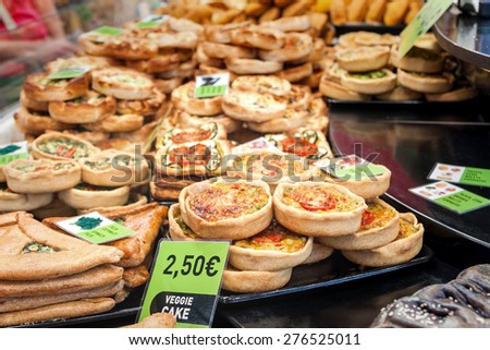 spanish Tapas - Various vegetarian quiches and tartes - stock photo