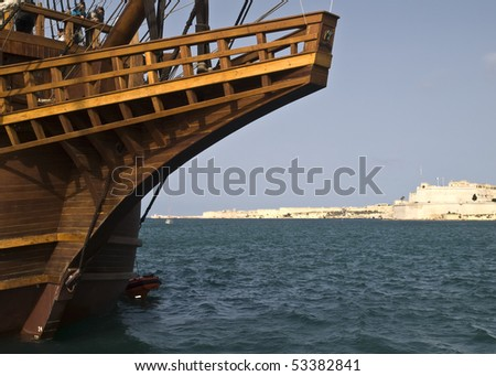 Spanish 17th Century galleon replica - stock photo