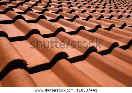 Spanish tile roof. - stock photo