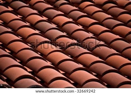 Spanish tile roof - stock photo