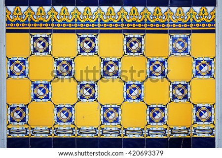 spanish tile wall background - stock photo