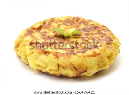 Spanish tortilla (omelet with potatoes and onions)  - stock photo
