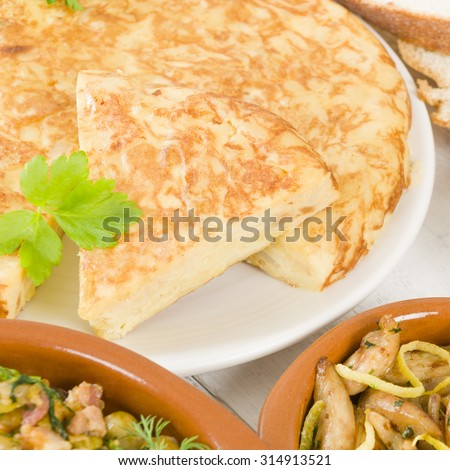 Spanish Tortilla - Traditional Spanish omelette made with potatoes and fried in olive oil.