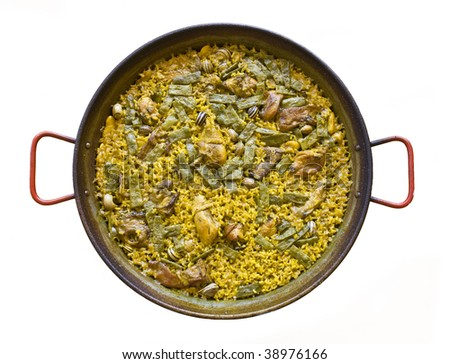 Spanish typical paella isolated on a white background - stock photo