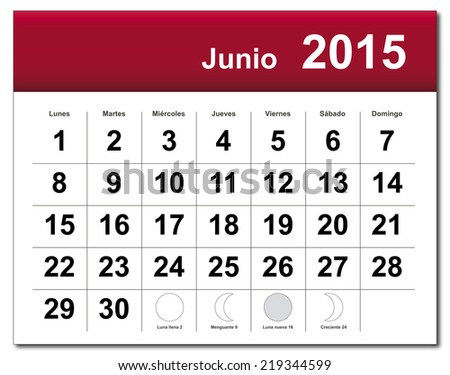 Spanish version of June 2015 calendar. - stock photo