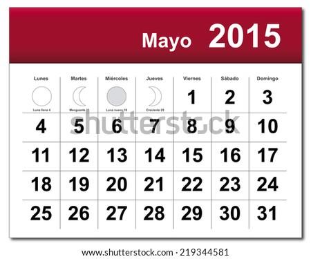 Spanish version of May 2015 calendar. - stock photo