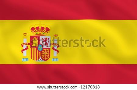 Spanish waving flag - stock photo