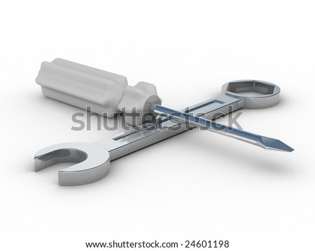 spanner and screwdriver on white background. Isolated 3D image - stock photo