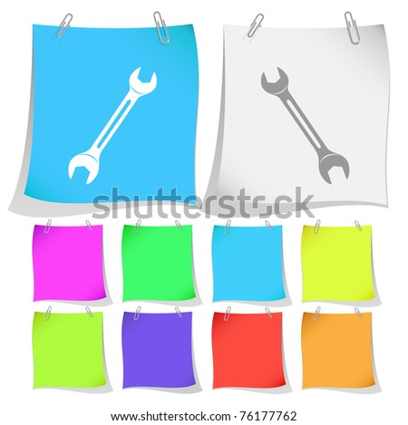 Spanner. Raster note papers. Vector version is in portfolio. - stock photo