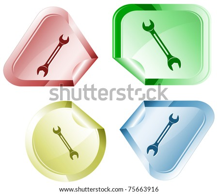 Spanner. Stickers. Raster illustration. Vector version is in my portfolio. - stock photo