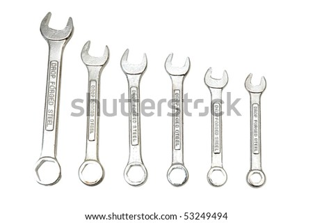 Spanners of various sizes isolated on the white - stock photo