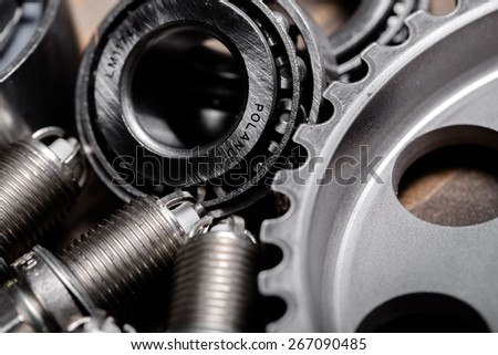Spare. Gears parts for the automotive repair industry. - stock photo