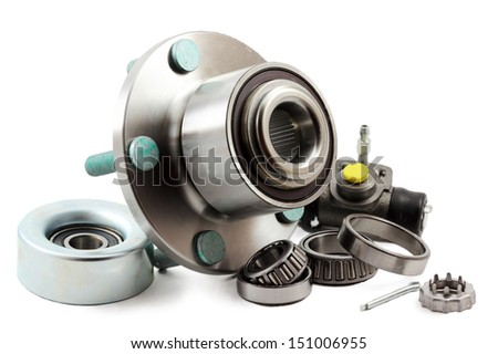 Spare parts for cars on a white background - stock photo