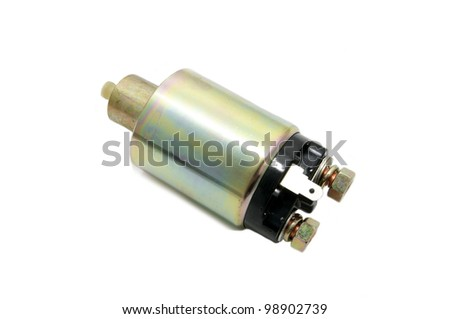 spare parts for the starter to the car on a white background - stock photo