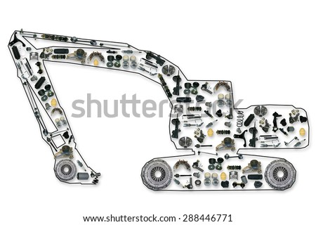 spare parts for truck or excavator, like excavator - stock photo