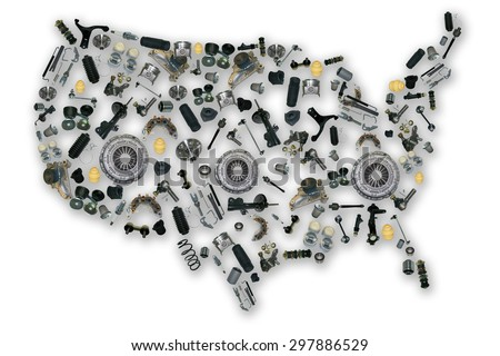Spare parts map for shop auto aftermarket - stock photo