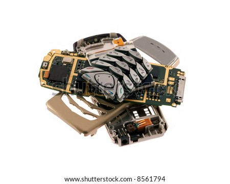 spare parts of cell phone - stock photo