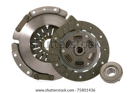 Spare parts of motor vehicle forming clutch plate and disc. - stock photo