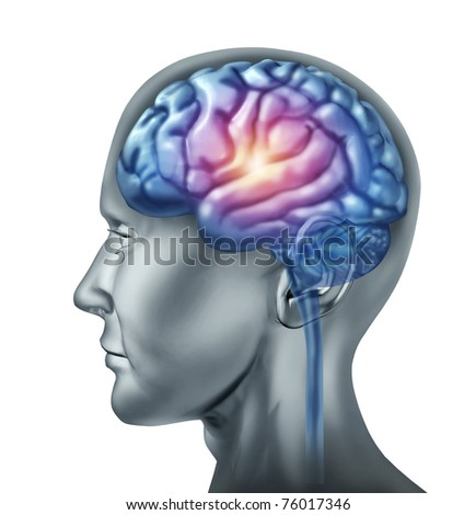 Spark of genius symbol represented by a glowing part of the central brain section showing the concept of intelligence and creativity. - stock photo
