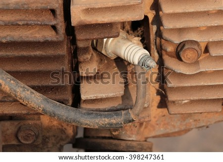 Spark plug and wire, Broken. Fix temporarily. - stock photo