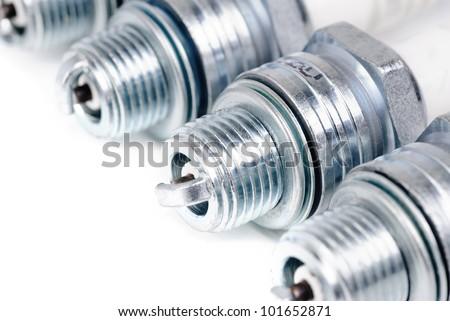 spark-plug isolated on the white background - stock photo