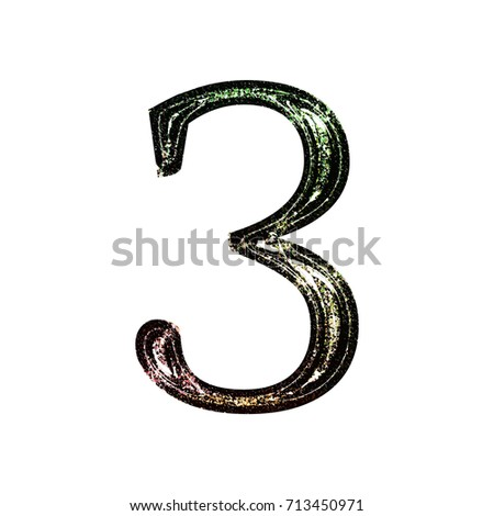 Sparking glittery ink stamped number three 3 in a 3D illustration with a vintage shiny metallic glitter in a retro color classic font isolated on a white background with clipping path.