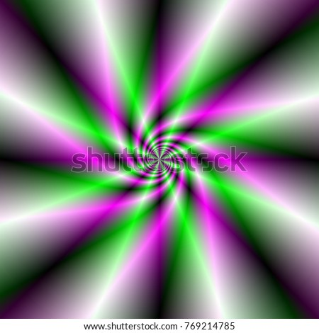 Sparking Spiral in Green and Pink / An abstract fractal image with a spiral ray design in green and pink.