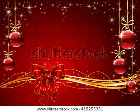 Sparkle background with snowflakes, red bow, Christmas balls and stars, illustration. - stock photo
