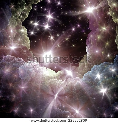 Sparkle blue  starry night sky. Fantasy shiny background for Christmas designs. Fractal art  - stock photo