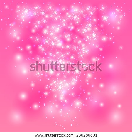 Sparkle pink background with shine stars and blurry lights, illustration. - stock photo