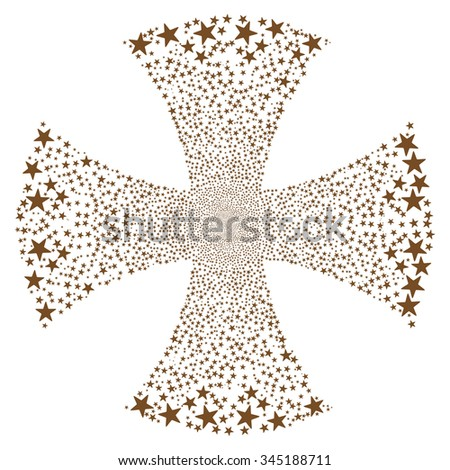 Sparkle Star Maltian Cross glyph illustration. Style is brown flat stars, white background. - stock photo
