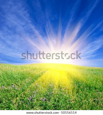 sparkle sun above a green field - stock photo