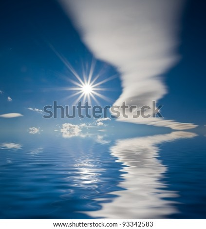 sparkle sun and clouds reflected in a water - stock photo