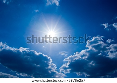 sparkle sun in a clouds - stock photo