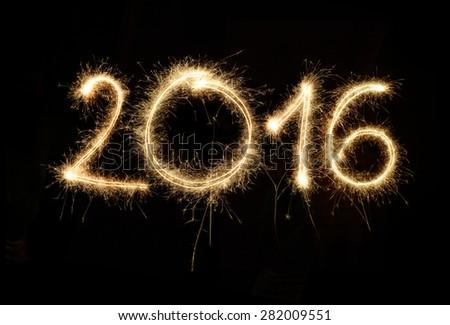 Sparkler 2016 - stock photo