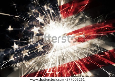 Sparkler american flag - stock photo